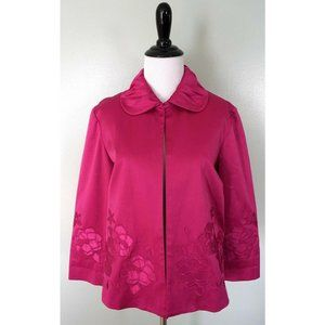 CHICOS Floral Open Front Bolero Coat Jacket Blazer
